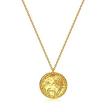 DREMMY STUDIOS Dainty Gold Plated Lion Vintage Coin Pendant Necklace 18K Gold Filled Simple Handmade Carved Ancient Lion Head Coin Disc Necklace for Women Minimalist Personalized Medallion Jewelry