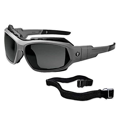 Ergodyne Gafas de sol Skullerz Loki convertibles de seguridad polarizadas, lentes ahumadas, incluye junta y correa para convertir en gafas