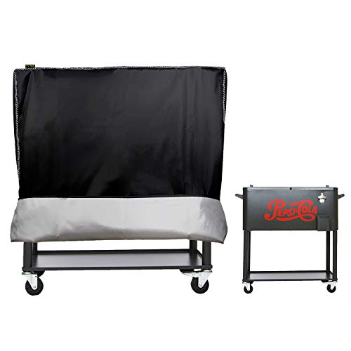Cooler Cart Cover(New Upgrade) - Universal Fit for Most 80 QT,Super Insulation Cashmere Material,Rolling Cooler (Patio Cooler,Beverage Cart, Rolling Ice Chest) Protective Cover (Black)