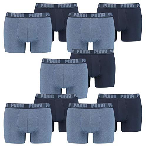 PUMA 10 er Pack Boxer Boxershorts Men Herren Unterhose Pant Unterwäsche, Farbe:037 - Denim, Bekleidungsgröße:L
