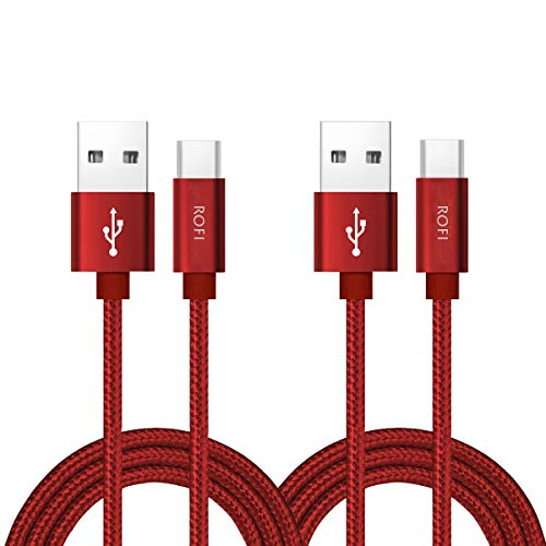 RoFI USB Type C Cable, [2Pack] 2FT USB C Cable Nylon Braided Fast Charging Cable for Galaxy S10 S9 S8 Plus Note 9 8, Pixel, Moto Z, LG V30 V20 G5, Xperia, Oneplus, Nintendo Switch and More (Red, 2 FT)