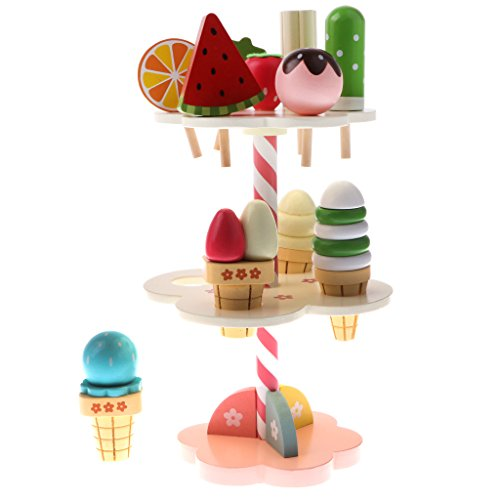 11 piezas de madera de 3 capas de helado de fresa Soporte de caramelo Food Pretend Play Set Hermoso diseño y bien elaborado Incluye 4 helados, 6 dulces y 1 soporte Ideal para niños juego preescolar juego de juguete diversión Material: madera