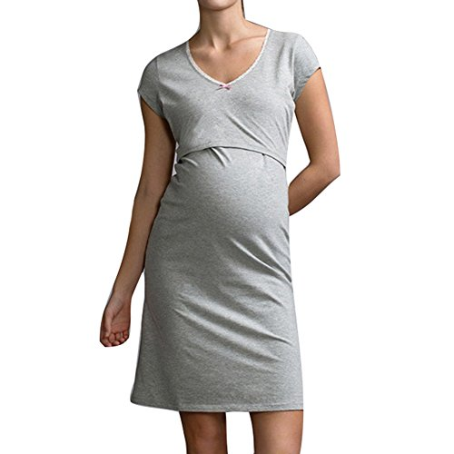 WEIMEITE Pyjamas Stillen Nachthemden für die Pflege Mutter Kurzarm Kleid Still Pyjama für Schwangere Damen Grau L