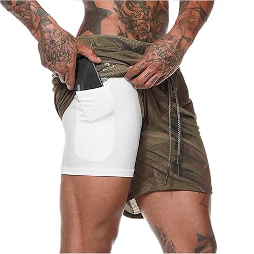 Dazzerake Pantalones cortos deportivos para hombre con cordón en la cintura y forro para fitness, con bolsillos y forro Camufar. M