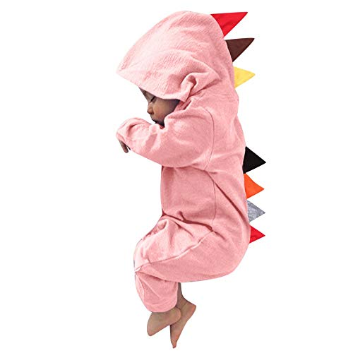 Newborn Baby Boy Girl Cute Dinosaur Hooded Romper Jumpsuit Clothes (24M, Pink a)