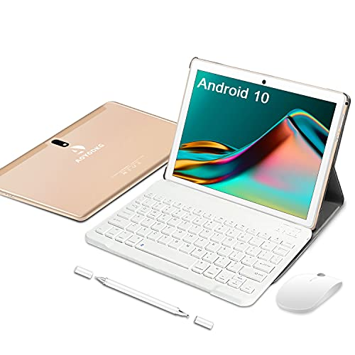 Tablet 10 Pulgadas 4 GB RAM 64GB/128GB ROM Android 9.0 Certificación Google GMS Ultrar-Rápido Tablets 4G LTE Dual SIM / WiFi 8000mAh Quad Core /GPS,Type-c, OTG, Netfilix/ - con Teclado (Oro)