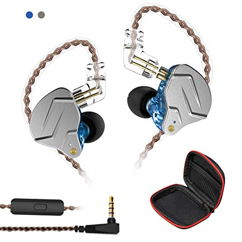 Andiker KZ ZSN-C Pro Quad Driver Earphones DD+BA High Resolution Hybrid Driver Electronic Crossover Headset, Detachable Cable Heavy Bass Earbuds Profeesional Earphones with Storage Box(Mic, Blue)