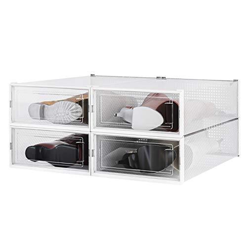 PARANTA Caja de almacenamiento de zapatos de 4 piezas, apilable de plástico transparente, organizador de zapatos, con puerta transparente para guardar zapatos de mujer, 52 x 31 x 14 cm