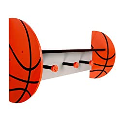 Trend Lab Home Indoor Living Room Wall Decorative Basketball - Wall Shelf With Pegs
