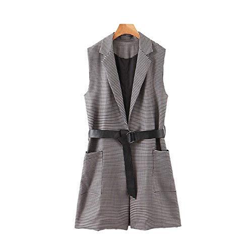 Vintage Office Wear Houndstooth Waistcoat Vrouwen Mouwloos met Riem Plaid Vest Bovenkleding Chic Tops