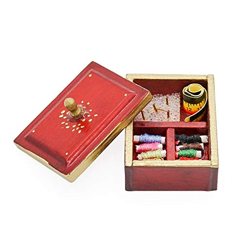 Odoria 1:12 Miniature Vintage Sewing Box with Lid WineRed Dollhouse Decoration Accessories