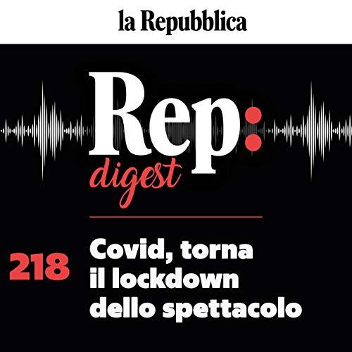 Diseño de la portada del título Covid, torna il lockdown dello spettacolo
