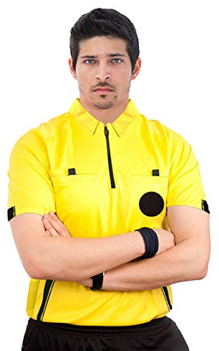 ChinFun Sporting Goods Men's Official Referee Short Sleeve Referee Jersey - Pro-Style Ref Uniform Great for Basketball Football Soccer Sports Competitions Yellow S