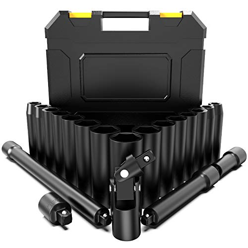 Schlagschrauber Nüsse Set, papasbox 20-tlg. Steckschlüsseleinsätze-Set 10-24 mm mit 3 Verlängerungsstangen 1/2 Zoll, 1 Adapter(3/8 Zoll) and 1 Universalgelenk, Sechskant Nüsse, Metrisch
