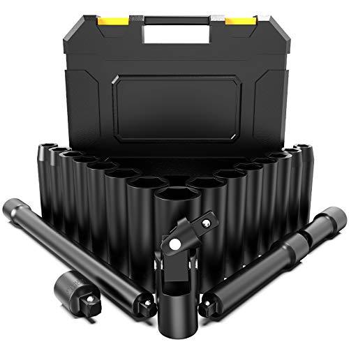 """papasbox Juego de Llaves de Vaso de Impacto1/2"""", 20 PCS (10-24mm), Vaso..."""