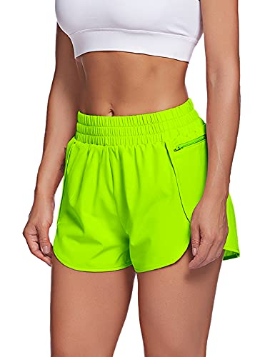 LaLaLa Womens Quick-Dry Loose Running Shorts High Waisted Sports Workout Shorts Gym Athletic Shorts with Pocket (M, Neon Green)
