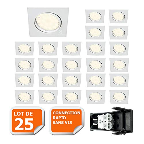 LOT DE 25 SPOT ENCASTRABLE ORIENTABLE LED CARRE GU10 230V eq. 50W BLANC NEUTRE
