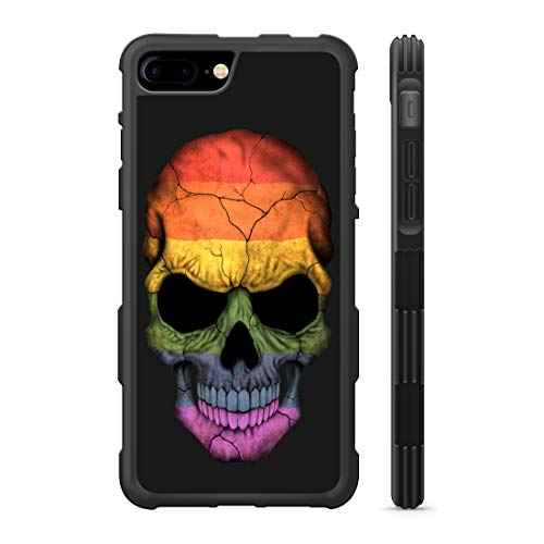 407Case Compatible with iPhone 6 Plus+ & iPhone 6s Plus+ LGBT Skull Flag Lesbian Gay Bisexual Transgender Hyper Shock Protective Rubber TPU Phone Case (iPhone 6 Plus+)