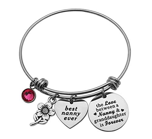 Eilygen Gift for Nanny Best Nanny Bracelet Bangle Nanny Jewelry Nanny Gift from Granddaughter (The Love Between a Nanny and Granddaughter is Forever)