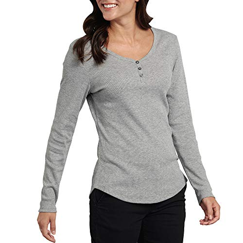 Dickies Women's Long-Sleeve 3-Button Henley Shirt, Graphite Single Dye, Medium
