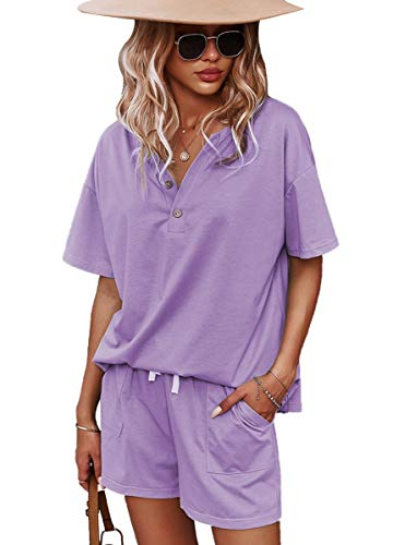CORSKI Women's Solid Two Piece Outfit Short Sleeve V Neck Pullover Tops And Shorts Sweatsuits Lounge Tracksuits Purple S