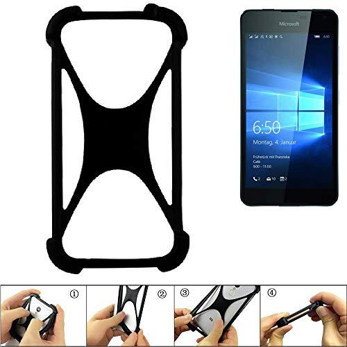 K-S-Trade Parachoques para Microsoft Lumia 650 Dual-SIM Funda Bumper Anillo Protector De Silicona Cubierta De La Caja TPU Softcase Protector Negro (1x)
