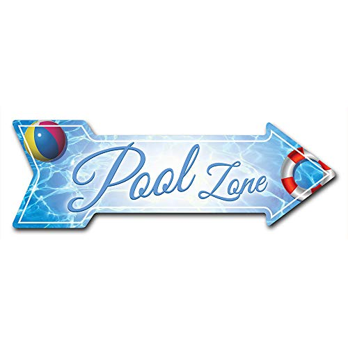 """SignMission Decal Art Pool Zone Decal Indoor/Outdoor Decor 24"""" Directional Sticker Vinyl Wall Decals"""