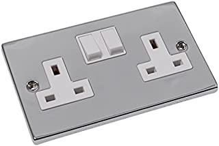 Merriway BH02709 Switched Socket 13 Amp 2-Gang - Polished Chrome