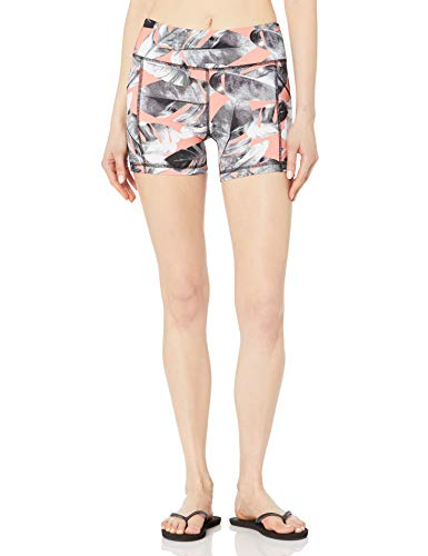 Body Glove Damen Splash Elastic Waist Hybrid Swim Short with UPF 50+ Boardshorts, Lost Coral Leaf Print, Small