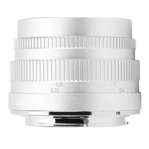 SALUTUYA Lente Manual para Canon Lente de cámara sin Espejo de Gran Apertura F1.2 Lente de Gran Apertura Resaltado de Lente para cámara(Silver)