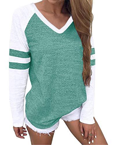 YOINS Camisetas de manga larga para mujer, camisetas de béisbol, cuello redondo, cuello a rayas, cuello en V, verde L