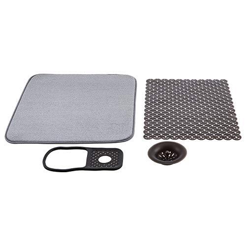 AmazonBasics - Juego para fregadero con esterilla de secado, tapón de drenaje, revestimiento del fregadero y bandeja de fregadero, 41 x 48 cm