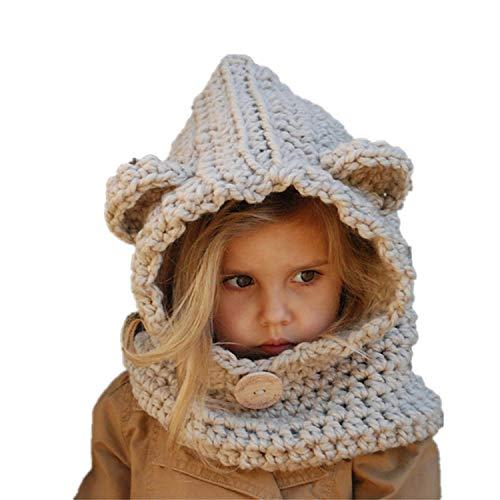 Warme Baby Mütze Schal Set, DOTBUY Kleinkind Kinder Hüte Junge Mädchen Gestrickte Häkeln Beanie Winter Slouch Beanie Kinder Unisex Gefüttert Strickmütze Wintermütze (beige)