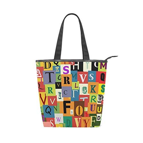 Jeansame Canvas-Handtasche für Damen, Shopper, Tragegriff, Schultertasche, mit Reißverschluss, Buchstabe Alphabet, Graffiti