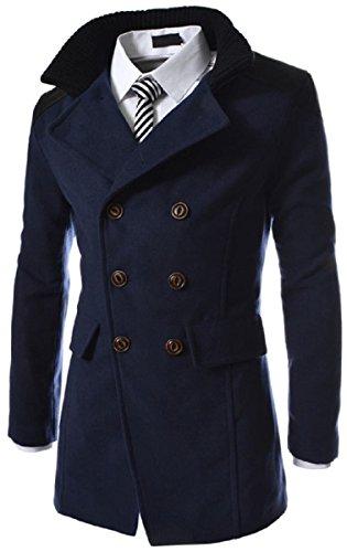 【Smile LaLa】 メンズ アウター コート ビジネス スーツ 紳士 シンプル ダブル ボタン 防寒 春 秋 冬 (ネイビー, M)