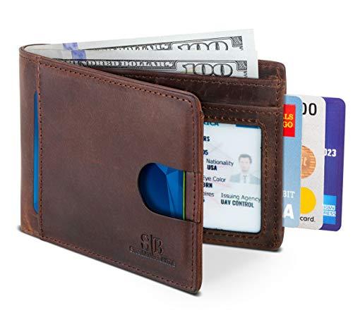 SERMAN BRANDS RFID Blocking Slim Bifold Genuine Leather Thin Minimalist Front Pocket Wallets for Men (Texas Brown 2.0)