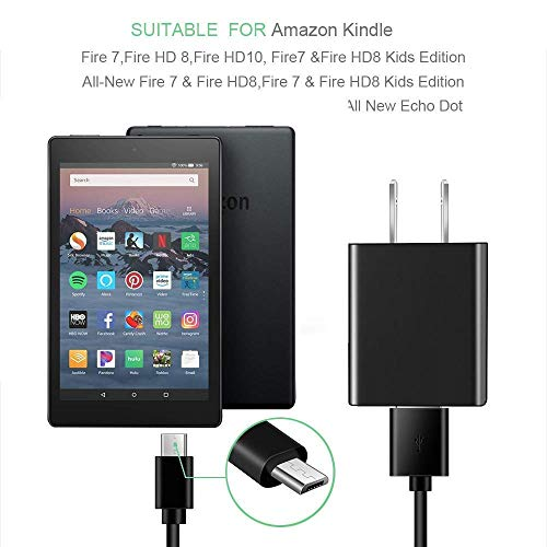 Kindle Fire Fast Charger, (UL Listed) AC Adapter Rapid Charger with 6.5 Ft Micro USB and USB C Cable Compatible with Fire 6 7 8 8Plus 10 Tablet, HDX 6