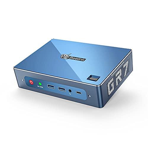 Beelink GTR7 Mini PC Window 10 Pro,AMD Ryzen 7 3750H (up to 4GHz) 16GB DDR4 512GB NVMe SSD,4K@60hz Dual HDMI, DP, Type-C 57W powerful Mini Computer Gaming Office WiFi 6,Fingerprint Login,Support WIN11