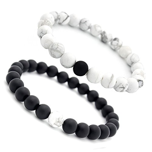 Cutedoumiao Distance Bracelet Black Matte Agate & White Howlite Energy Stone Beads Bracelet Set Couple Jewelry
