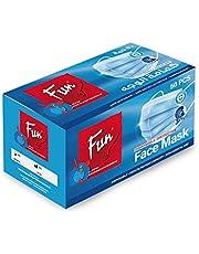 FUN Al Bayader Fun 3 Ply Disposable Face Mask, 50 Pieces, Blue