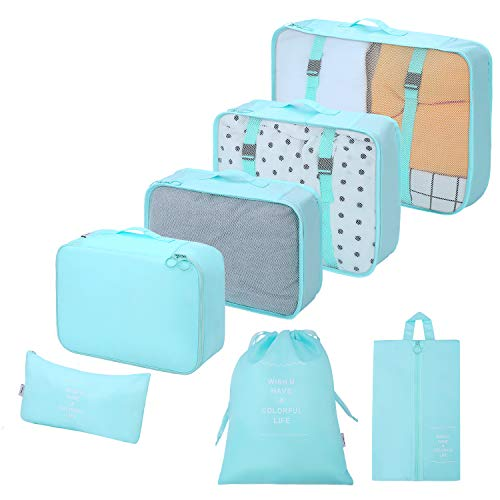 Packing Cubes 7 Sets Travel Luggage Organizers with Waterproof Shoe Storage Bag Compression Pouches(Blue)
