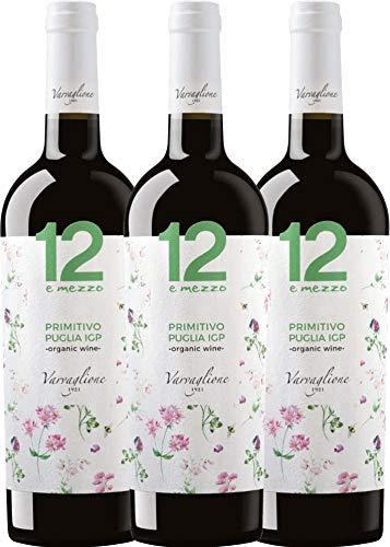 VINELLO 3er Weinpaket Primitivo - 12 e Mezzo Primitivo Organic 2018 - Varvaglione mit Weinausgießer   trockener Rotwein   italienischer Biowein aus Apulien   3 x 0,75 Liter