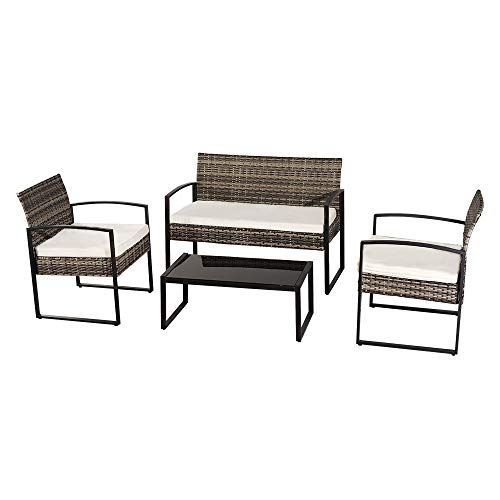 BELUPAID Patio Furniture Set, 4 Pieces Outdoor Leisure Rattan Furniture Sofa Garden Conversation Armchair w/Soft Cushions and Tempered Glass Coffee Table for Backyard Porch Poolside Balcony