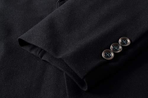Men's Casual 1 Button Slim Fit Blazer Suit Jacket (619 Black, M)
