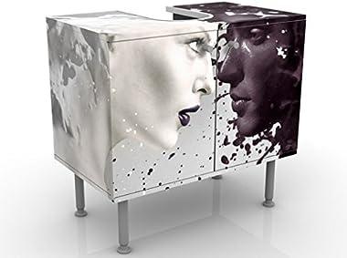 Meuble sous Vasque Design Milk & Coffee 60x55x35cm, Petit, 60 cm de Large, réglable, Table de lavabo, Armoire de lavabo,