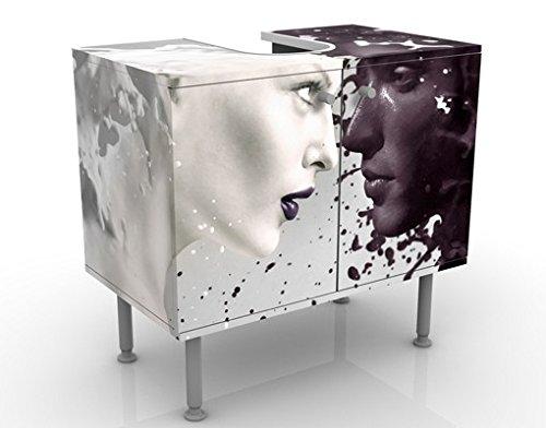 Mueble de lavabo Design Milk & Coffee 60x55x35cm, Pequeño, 60cm Ancho, ajustable, Mesa de lavabo, Mueble de lavabo, Lavabo, Mueble bajo, Bañera, Cuarto de baño, Mueble de baño