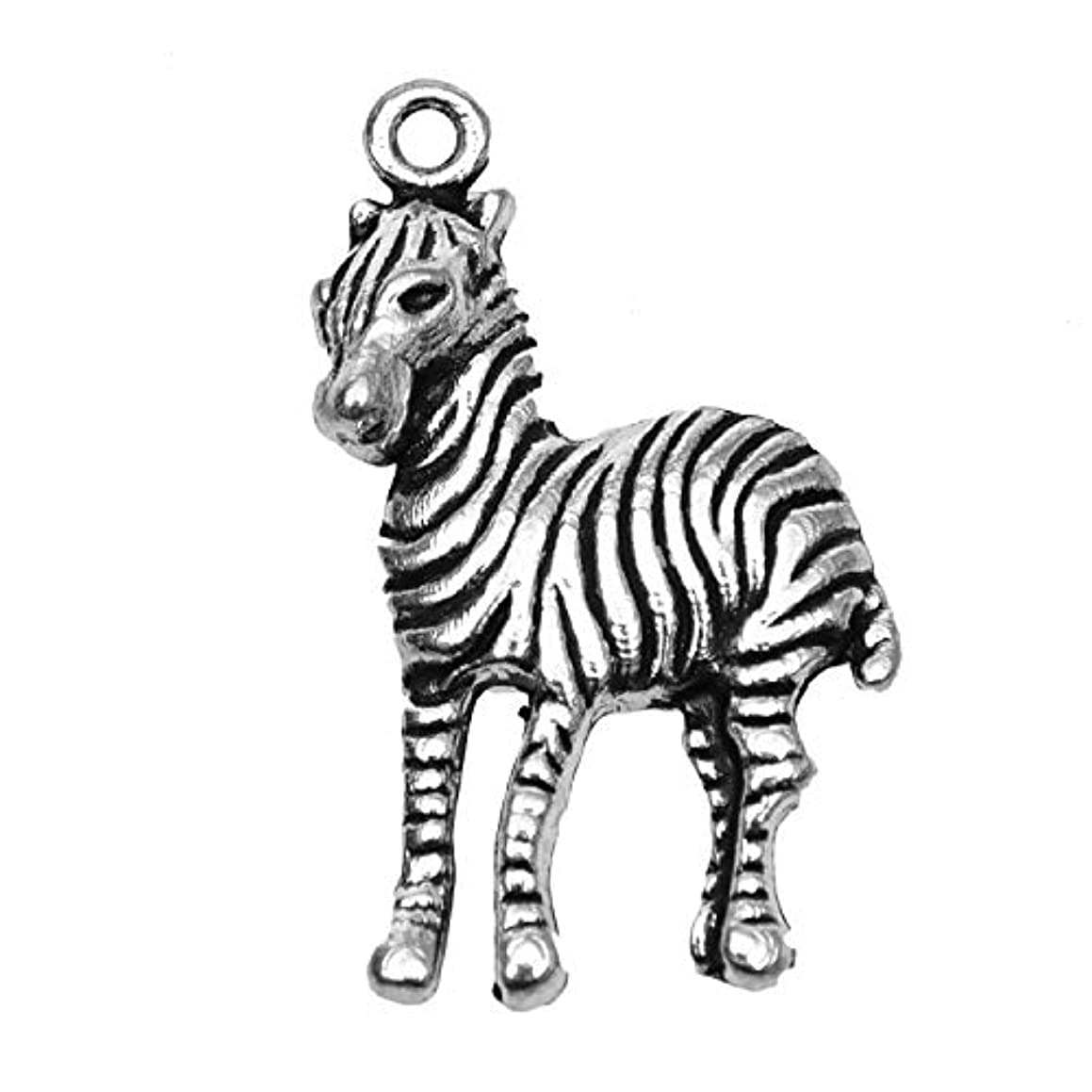 Monrocco 20pcs Antique Silver Zebra Charms Tibetan Style Alloy Horse Animals Charms Pendants Beads Charms for DIY Bracelet Necklace Jewelry Making