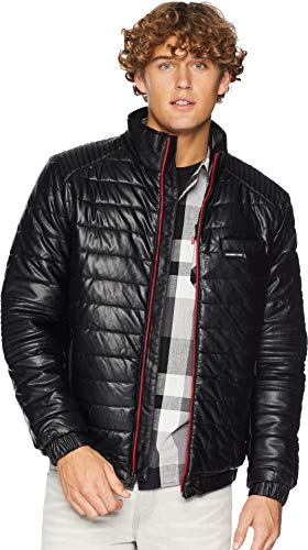 Members Only Men s Moto Puffer in Vegan Leather, Black, XL