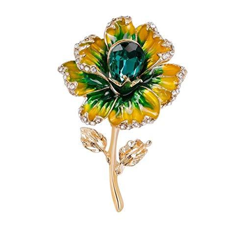 SSMDYLYM Joyería de Moda Broche de la Flor Elegante Broche de Diamantes señoras de la Muchacha del Regalo de cumpleaños (Color : A)