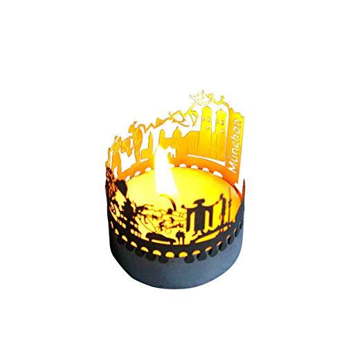 13gramm München-Skyline Windlicht Schattenspiel Souvenir, 3D Edelstahl Aufsatz für Kerze inkl. Karte
